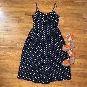 Polka Dot Pin Up Tie Front Dress